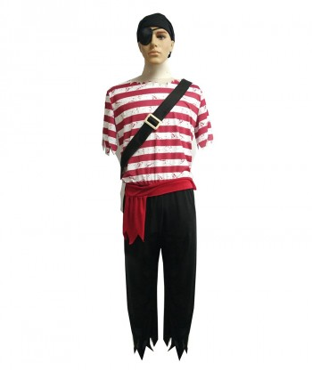 Halloween Party Costume (1-2 days dispatch) Adult Men's Red White Stripes Pirate Costume HC-056