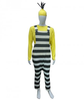 Halloween Party Costume Adult Men's Costume for Cosplay Despicable Me 3 Jailed Minion Kevin HC-215