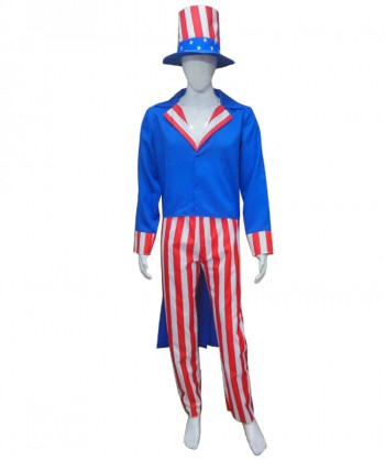 Halloween Party Costume Adult Men's Uncle Sam Costume HC-217