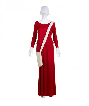 Halloween Party Costume Adult Women's Red Dress Handmaid Costume with Bag and Bonnet HC-227