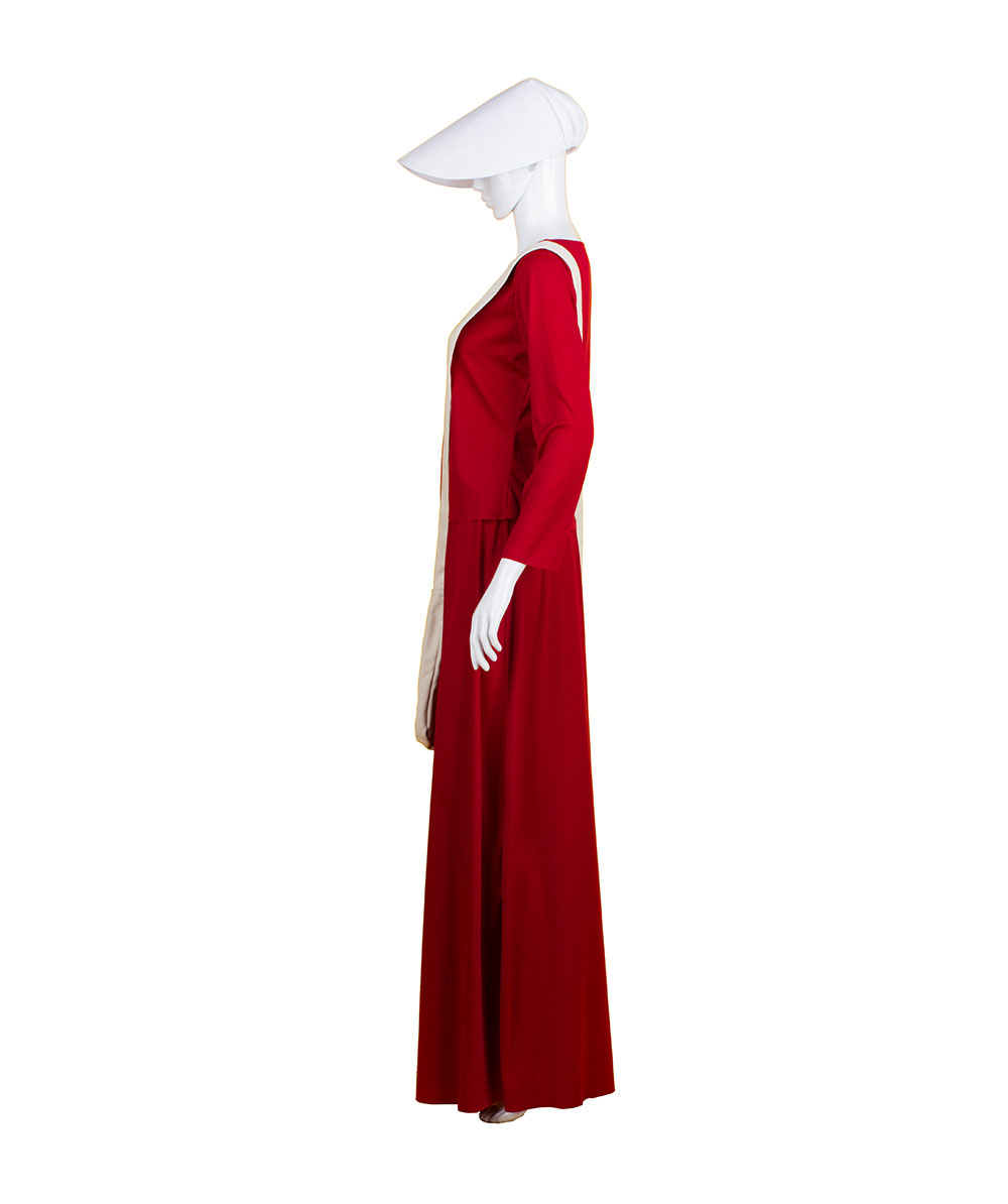Adult Women's Red Dress Handmaid Costume with Bag and Bonnet HC-227