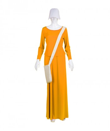 Halloween Party Costume Adult Women's Orange Dress Handmaid Costume with Bag and Bonnet HC-228
