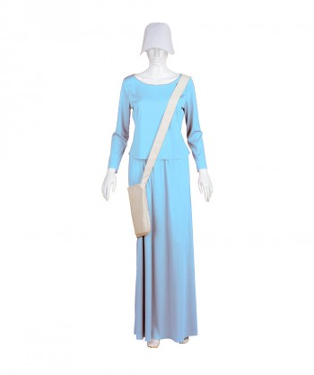 Halloween Party Costume Adult Women's Lt Blue Dress Handmaid Costume with Bag and Bonnet HC-231