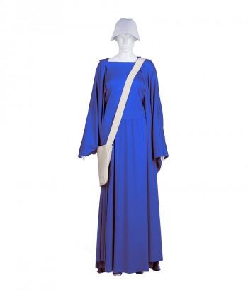 Halloween Party Costume Adult Women's Sky Blue Handmaid Full Set Costume HC-236