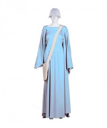 Halloween Party Costume Adult Women's Lt Blue Handmaid Full Set Costume HC-237
