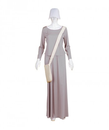Halloween Party Costume Adult Women's Grey Dress Handmaid Costume with Bag and Bonnet HC-240