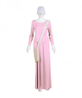 Halloween Party Costume Adult Women's Pink Dress Handmaid Costume with Bag and Bonnet HC-241