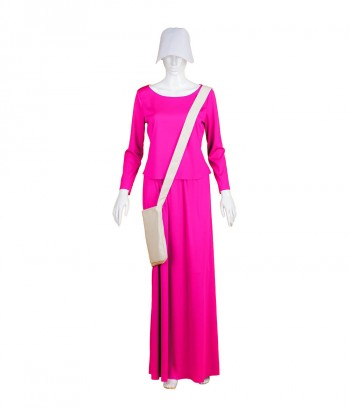 Halloween Party Costume Adult Women's Fuchsia Dress Handmaid Costume with Bag and Bonnet HC-242