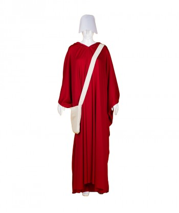Halloween Party Costume Adult Women's Red Robe Handmaid Costume with Bag and Bonnet HC-246