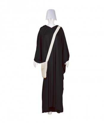 Halloween Party Costume Adult Women's Black Robe Handmaid Costume with Bag and Bonnet HC-248