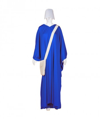 Halloween Party Costume Adult Women's Sky Blue Robe Handmaid Costume with Bag and Bonnet HC-249