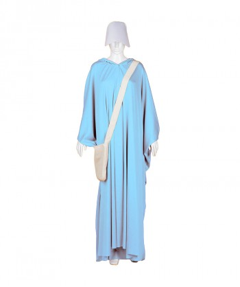 Halloween Party Costume Adult Women's Lt Blue Robe Handmaid Costume with Bag and Bonnet HC-250