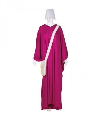 Halloween Party Costume Adult Women's Purple Robe Handmaid Costume with Bag and Bonnet HC-251