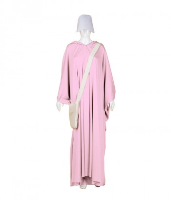Halloween Party Costume Adult Women's Pink Robe Handmaid Costume with Bag and Bonnet HC-253