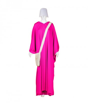 Halloween Party Costume Adult Women's Fuchsia Robe Handmaid Costume with Bag and Bonnet HC-254