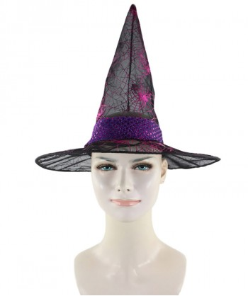 Halloween Party Costume Black & Fuscia Witch Hat HA-001