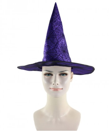 Halloween Party Costume Purple & Black Spider Web Witch Hat HA-007