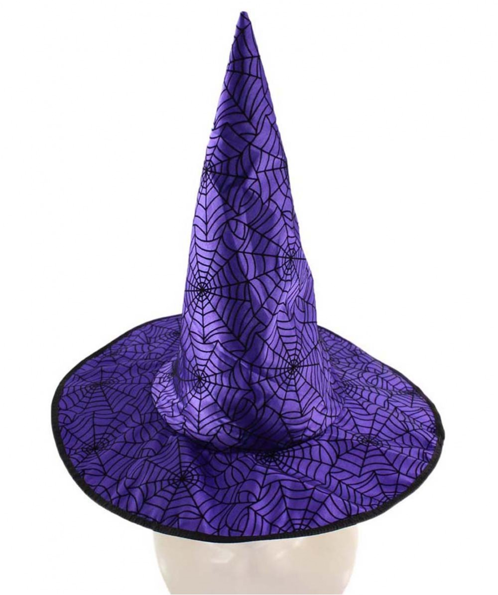 Purple & Black Spider Web Witch Hat HA-007