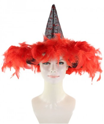 Halloween Party Costume Black & Red Witch Hat  HA-009