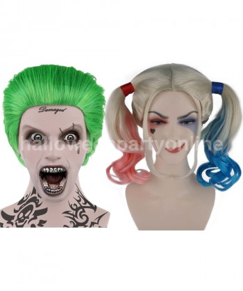 Halloween Party Costume (1-2 Days Dispatch) Joker Wig HM-045 + Harley Quinn Wig Blue HW-141