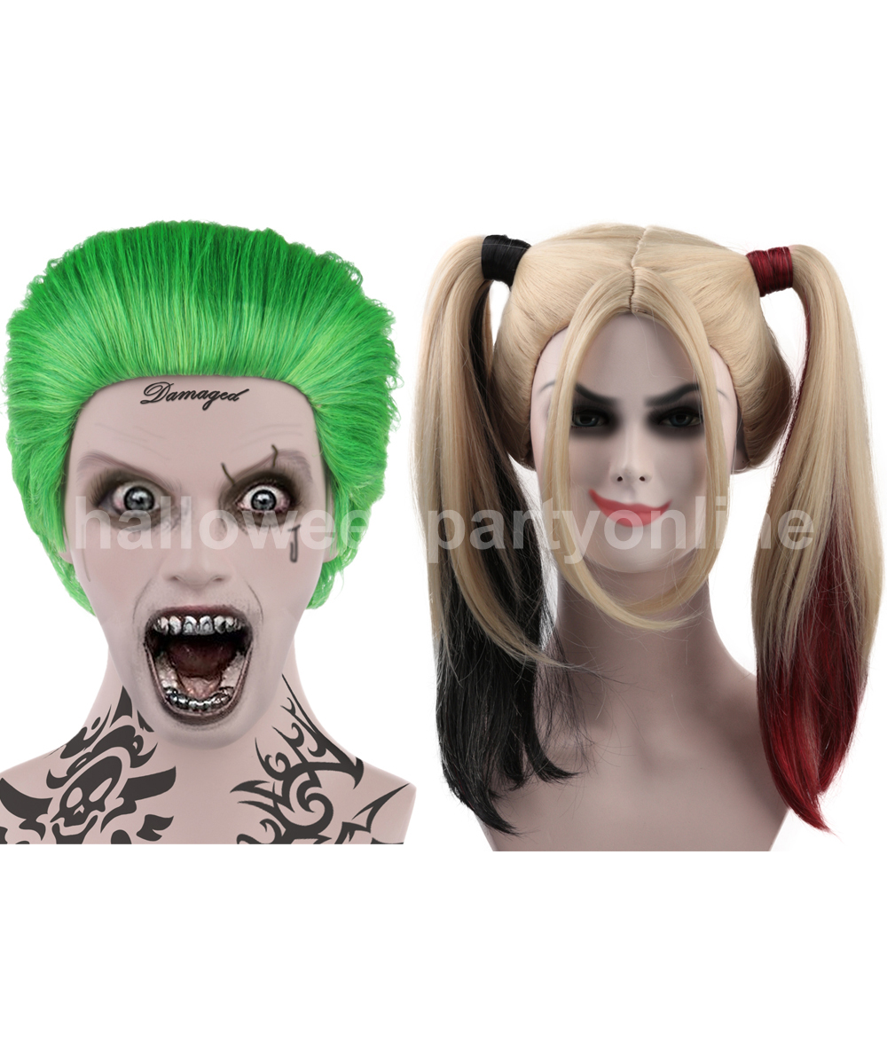 (1-2 Days Dispatch) Joker Wig HM-045 + Harley Quinn Wig Red HW-157