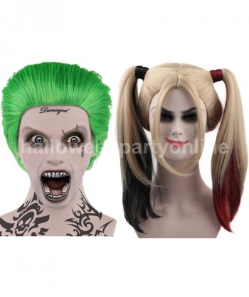 Halloween Party Costume (1-2 Days Dispatch) Joker Wig HM-045 + Harley Quinn Wig Red HW-157