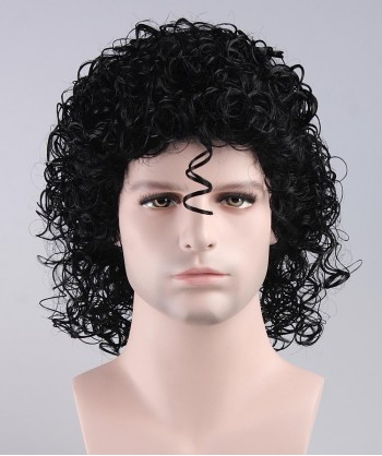 Halloween Party Costume Wig for Cosplay Singer Jackson Black Curly HM-007