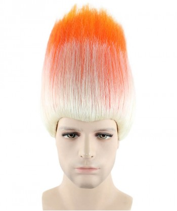 Halloween Party Costume (1-2 Days Dispatch) Wig for Cosplay Trolls Orange & White HM-049