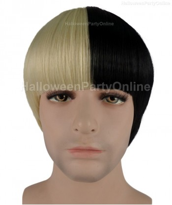 Halloween Party Costume (1-2 days dispatch) Wig for Australian Singer Mens Black  Blonde HM-063
