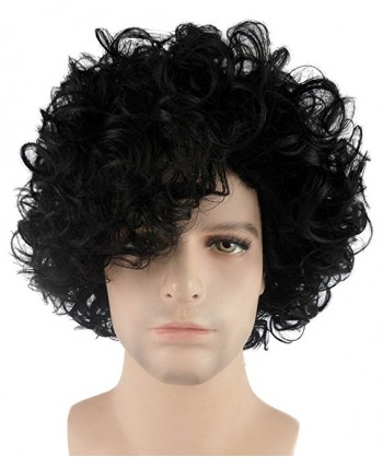 Halloween Party Costume (1-2 Days Dispatch) Wig for Cosplay Purple Singer Black Curly Wig HM-082