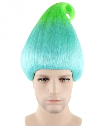 Halloween Party Costume Men's Wig for Cosplay Troll Bluish Green Style HM-138