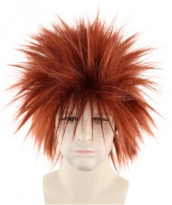 Halloween Party Costume 80S Adult Men Rock Dark Auburn Style Wig HM-145