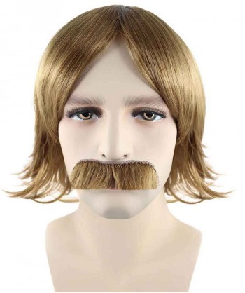Halloween Party Costume 70s Disco Brown Wig & Mustache HM-146