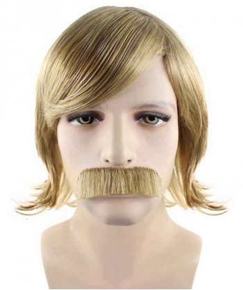 Halloween Party Costume 70s Disco Golden Wig & Mustache HM-147