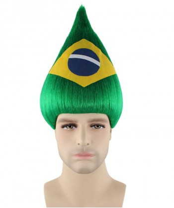 Halloween Party Costume Brazil National Flag Troll Wig, HM-205