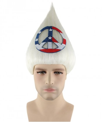 Halloween Party Costume American Peace Sign Troll Wig, Mens HM-208