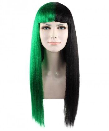 Halloween Party Costume (1-2 Days Dispatch) Exclusive! Wig for cosplay Melanie with Green and Black Long straight style HW-1082