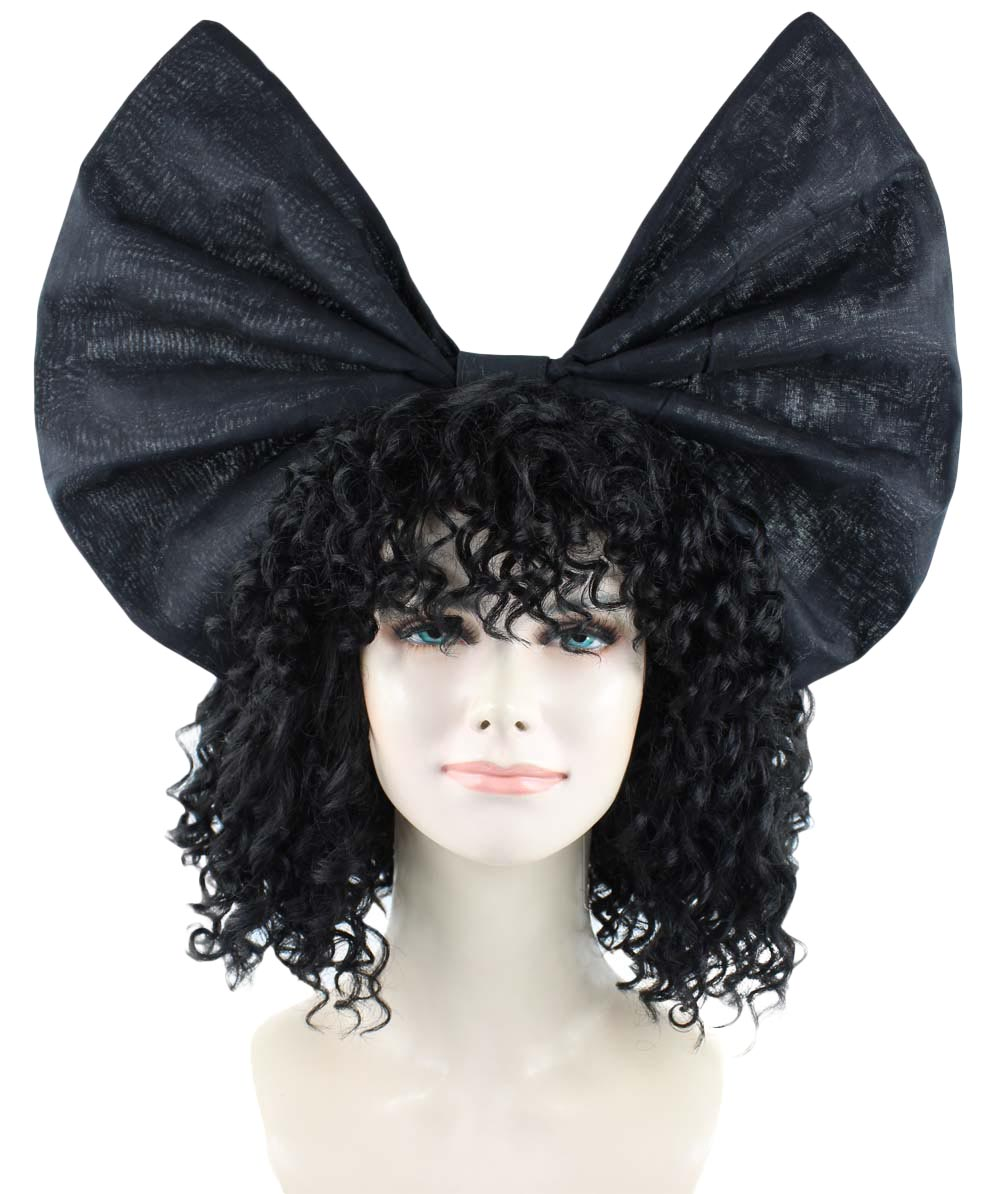 Exclusive! Wig for cosplay Sia curly hair with Black Bow HW-1091
