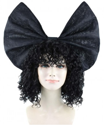 Halloween Party Costume Exclusive! Wig for cosplay Sia curly hair with Black Bow HW-1091
