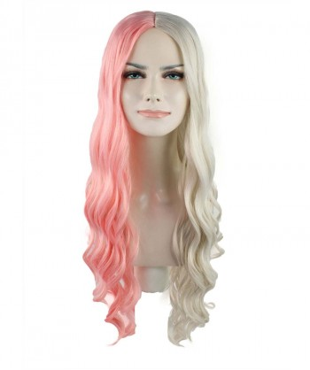 Halloween Party Costume (1-2 Days Dispatch) Super Long Curly Half Light Pink and Blonde Wig HW-1095