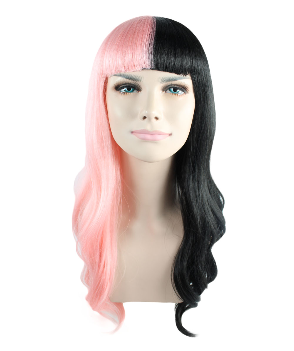 Exclusive! Wig for cosplay Melanie Long Wavy half Pink and Black style HW-1102