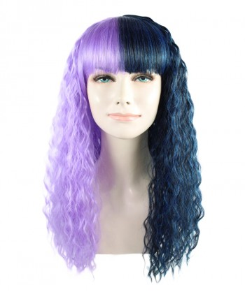 Halloween Party Costume Exclusive! Wig for cosplay Melanie Long Wavy half Purple and Black style HW-1339