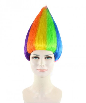 Halloween Party Costume Women's Wig for Cosplay Rainbow Troll Style HW-1348