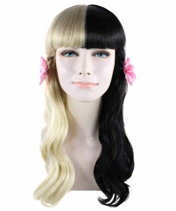 Halloween Party Costume American Singer Bow Wig, Pink/Black HW-1359