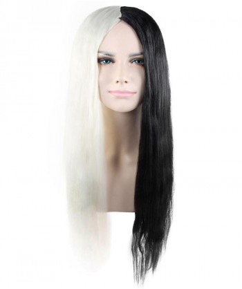 Halloween Party Costume Long Black and White Two-Tone Wig HW-1374