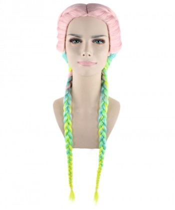 Halloween Party Costume (1-2 Days Dispatch) Exclusive! Wig for cosplay Kylie Jenner Rainbow Braid style HW-1384