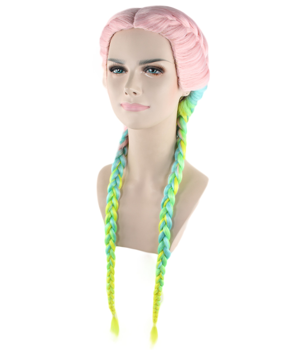 (1-2 Days Dispatch) Exclusive! Wig for cosplay Kylie Jenner Rainbow Braid style HW-1384