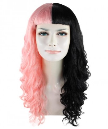 Halloween Party Costume American Singer Wavy Wig, Pink/Black HW-1434