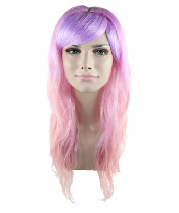 Halloween Party Costume Long Wavy Pink and Purple Ombre Wig HW-1538