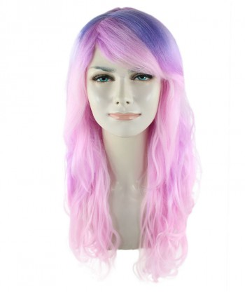 Halloween Party Costume Long Wavy Pink and Blue Wig  HW-1688